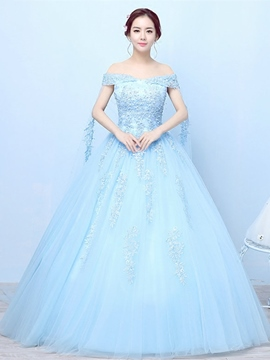 ericdress applikationen off-the-shoulder kurze Ärmel quinceanera Kleid