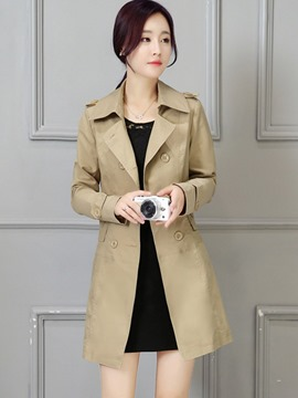 Ericdress Plain Mid-Length Double-Breasted Trench Coat