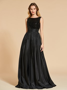 Ericdress A Line Bateau Neck Sequins Long Evening Dress