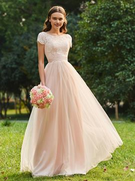 Ericdress Short Sleeves A Line Tulle Bridesmaid Dress