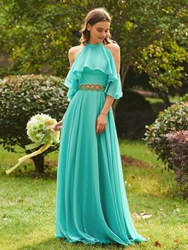 Ericdress Halter Beading Cold Shoulder Long Bridesmaid Dress