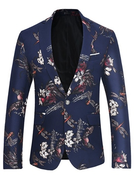 Ericdress Lapel Print Fit Men's Casual Blazer