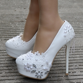 Ericdress Rhinestone Fringe Platform Stiletto Heel Wedding Shoes
