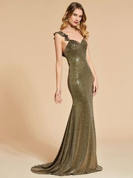 Ericdress Straps Sequin Backless Mermaid Evening Dress With Sweep Train