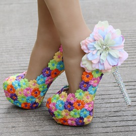 Ericdress Floral Rhinestone Platform Stiletto Heel Wedding Shoes
