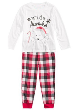 Ericdress Christmas Letter Print Plaid Girl's Outfit Pajamas