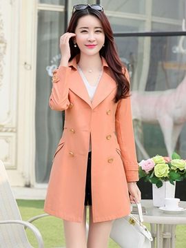 Ericdress Thin Double-Breasted Mid-Length Trench Coat