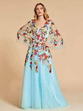 Ericdress Fairy A Line Long Sleeve Embroidery Backless Evening Dress