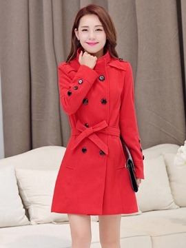 Ericdress Stand Collar Plain Double-Breasted Coat