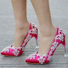 Ericdress Gorgeous Rhinestone Slip-On Stiletto Heel Wedding Shoes