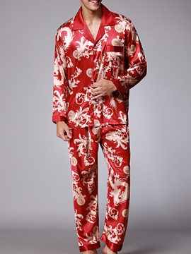 Ericdress Lapel Print men's 2 Pcs Pajama Set