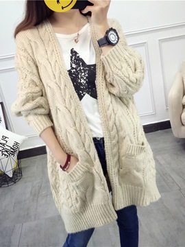 Ericdress Plain Loose Chunky Knit Cardigan Sweater