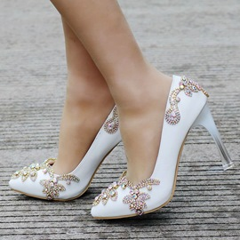 Ericdress Chic Rhinestone Pointed Toe Stiletto Heel Wedding Shoes