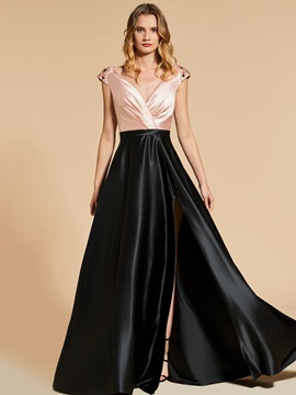 Ericdress A Line Beaded Cap Sleeve V Neck Evening Dress With Side Slit