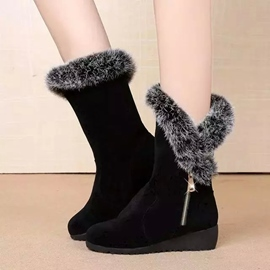 Ericdress Winter Plain Wedge Heel Snow Boots