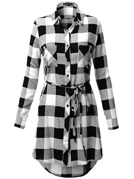 Ericdress Plaid Long Single-Breasted Blouse