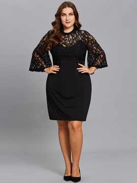 Ericdress Plus Hollow Lace Flare Sleeve Bodycon Dress
