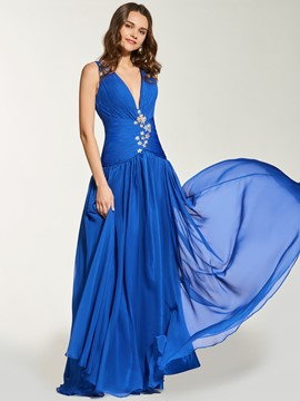Ericdress A Line Deep V Neck Pleats Backless Prom Dress
