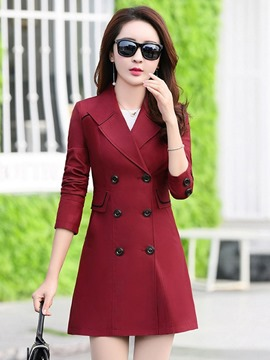 Ericdress Slim Lapel Plain Double-Breasted Trench Coat