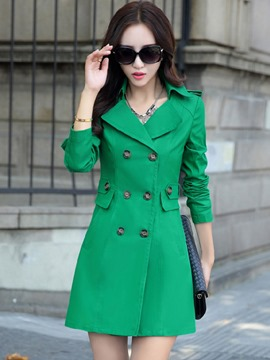Ericdress Lapel Mid-Length Double-Breasted Trench Coat