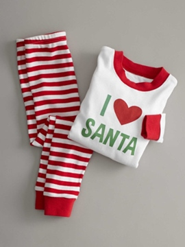 Ericdress Christmas Letter Print Stripe Unisex Outfit Pajamas