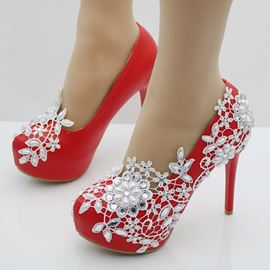 Ericdress Red Rhinestone Platform Stiletto Heel Wedding Shoes
