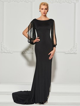Ericdress Bateau Beaded Long Sleeve Backless Mermaid Evening Dress