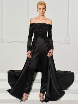 Ericdress Long Sleeve Off The Shoulder Beaded Black Prom Jumpsuit With Train