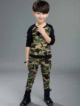Ericdress Camouflage Long Sleeve T-Shirt & Trousers Boy's Outfit