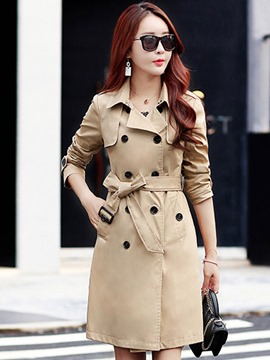 Ericdress Slim Mid-Length Double-Breasted Trench Coat