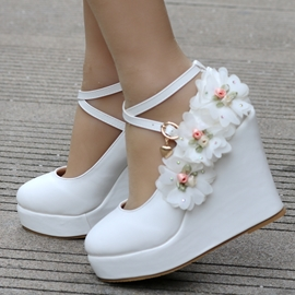 ericdress hasp floral plate-forme wedge talon chaussures de mariage