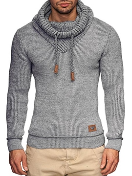 Ericdress Heap Collar Lace-Up Men's Pullover Sweater