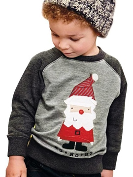 Ericress Christmas Santa Print Color Block Boy's Sweater