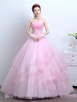 6ddc79e0354 Ericdress Appliques Flowers Scalloped-Edge Quinceanera Dress