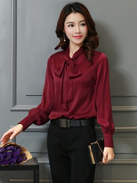 Ericdress Loose Stand Collar Bowknot Blouse