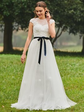 Ericdress Beading Sashes Appliques Lace Wedding Dress