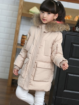 Ericress Long Sleeve Hooded Mid-Length Thick Girl's Down Jacket
