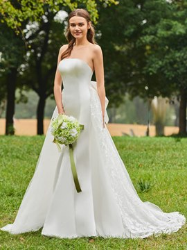 Ericdress Strapless Matte Satin Garden Wedding Dress