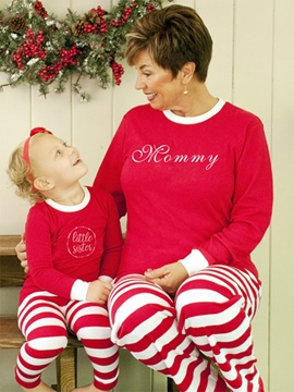 Ericdress Christmas Stripe Letter Print Unisex Outfit Pajamas