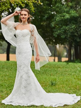 Ericdress Beading Mermaid Lace Wedding Dress with Cape