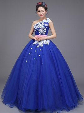 Erikdress One-Shoulder-Applikationen Schärpen Quinceanera Kleid
