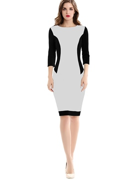 Ericdress Color Block Pencil 3/4 Length Sleeve Bodycon Dress