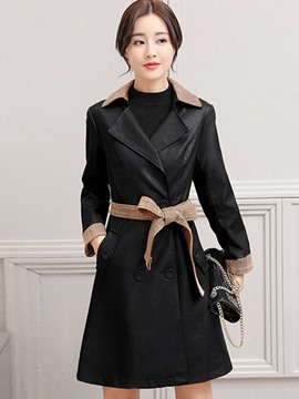 Ericdress Slim Long Double-Breasted PU Jacket