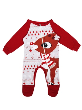 Ericdress Christmas Elk Print Long Sleeve Zipper Unisex Baby's Jumpsuits