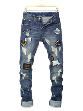 Ericdress Worn Patchwork Straight Men's Denim Pants