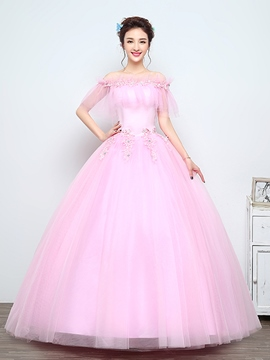 Ericdress Off-the-Shoulder Appliques Beading Ball Quinceanera Dress