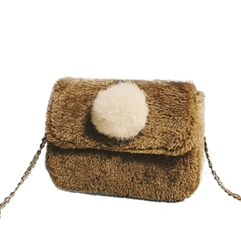 Ericdress Balls Decoration Plush Chain Crossbody Bag