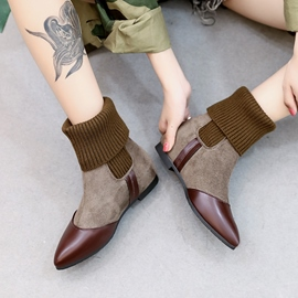 Ericdress Pointed Toe Patchwork Plain Ankle Boots