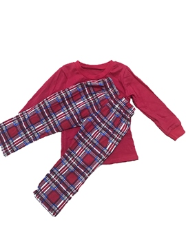 Ericdress Christmas Plain Shirt & Plaid Trousers Unisex Outfit Pajamas