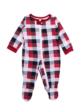 Ericdress Christmas Plaid Round Neck Zipper Unisex Baby's Jumpsuits